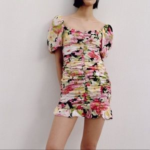 ZARA Floral Ruched Puffy Sleeves Dress